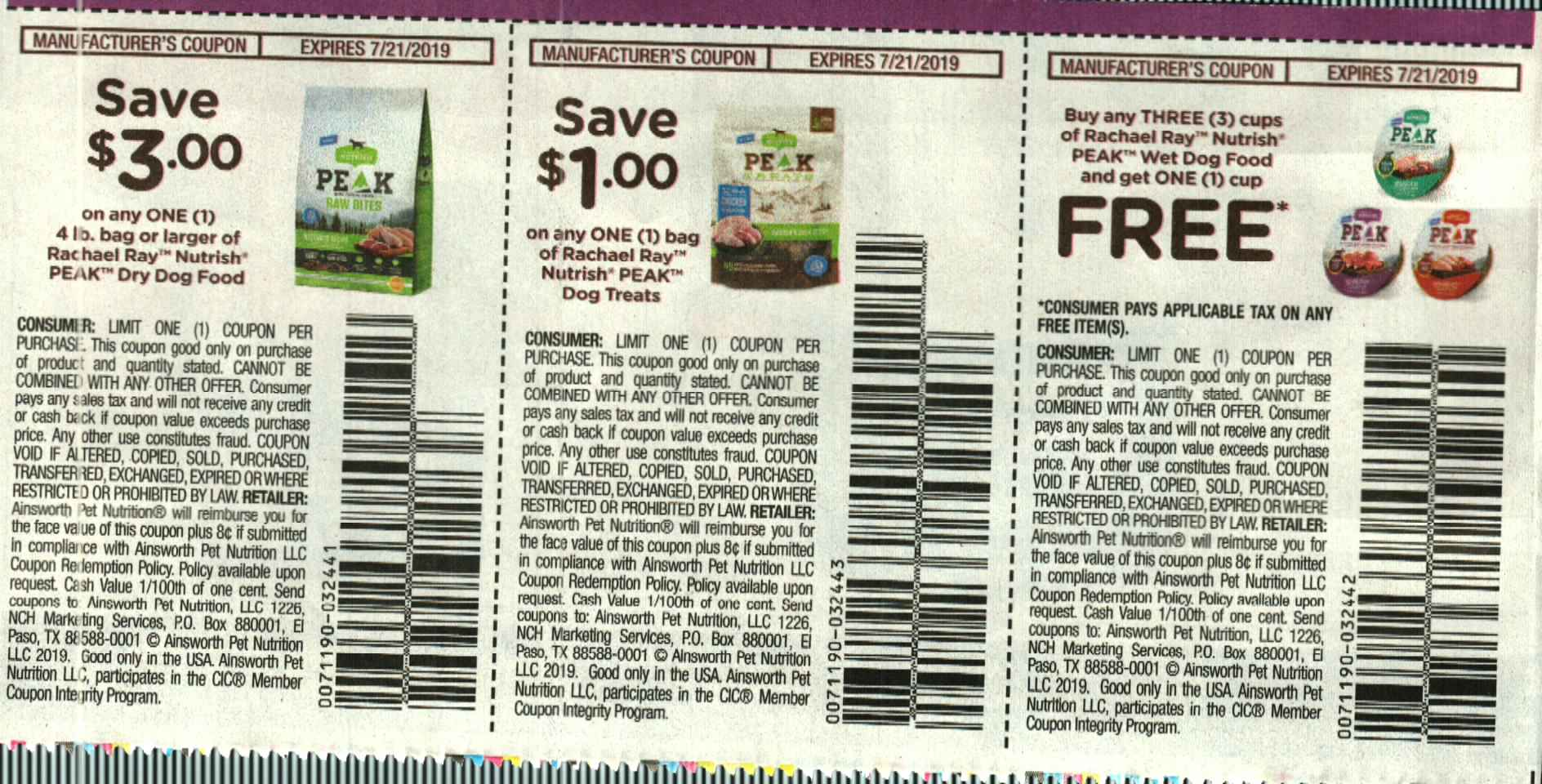 $3/1 Rachael Ray Nutrish Peak Dry Dog Food + $1/1 Peak Dog Treats + Buy 3 Get 1 Free Peak Wet Food Cups 7/21/2019