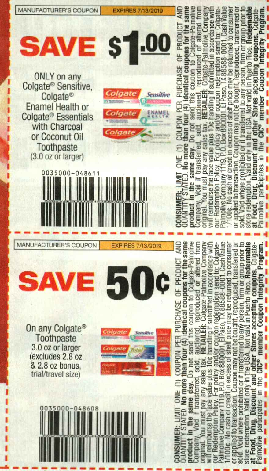colgate enamel health coupon 2019