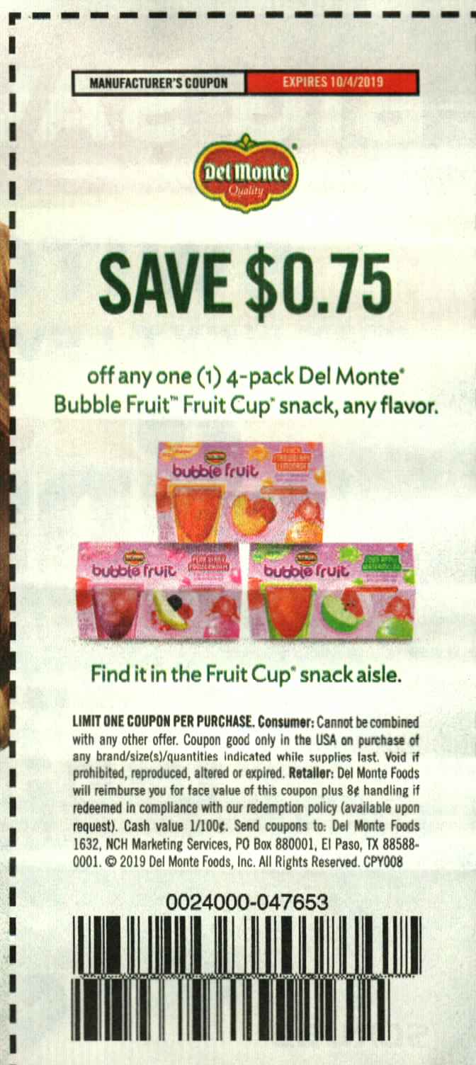 $.75/1 Del Monte Bubble Fruit Fruit Cup 4 PK 10/4/2019