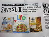$1/2 boxes Life Cereal, Quaker Oatmeal Squares or Simply Granola 5/5/2019