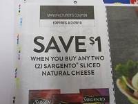 $1/2 Sargento Sliced Natural Cheese 6/2/2018