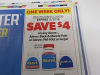 $4/1 Aleve, Aleve Back & Muscle Pain or Aleve PM 5/5/2019