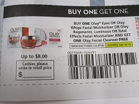 Buy 1 Olay Eyes , Whips Facial, Regenerist Luminous or Total Effects Get 1 FREE Cleanser 5/18/2019