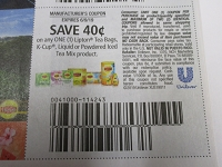 $.40/1 Lipton Tea bags K Cup Liquid or Powdered Iced Tea Mix 6/9/2019