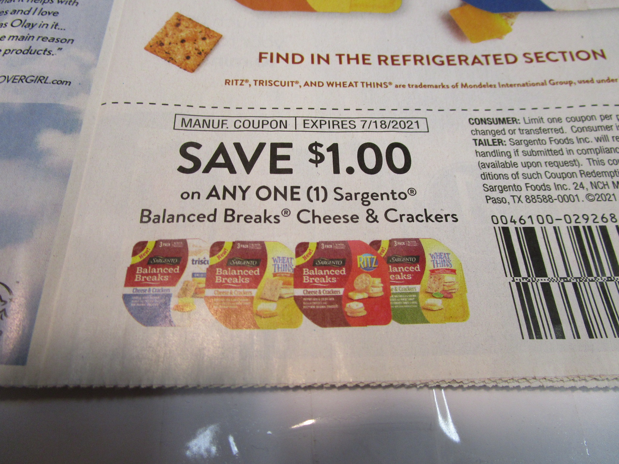 $1/1 Sargento Balanced Breaks Cheese & Crackers 7/18/2021