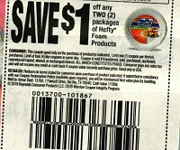 15 Coupons $1/2 HEFTY FOAM PRODUCTS 8/31/2019