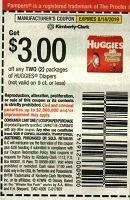 $3/2 Huggies Diapers 8/18/2019