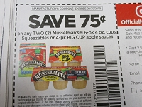 $.75/2 Musselmann's 6pk 4oz Cups Squeezables or 4pk Big Cup Apple Sauces 9/30/2019
