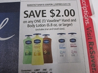 $2/1 Vaseline Hand and Body Lotion 8/31/2019