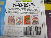 $1/2 Cinnamon Toast Crunch, Lucky Charms Cocoa, Puffs Cereal 10/5/2019