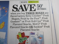 $.50/3 Betty Crocker Fruit Roll Ups Gushers or Snacks 1/4/2019