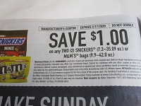 $1/2 Snickers 7.2-35.09oz or M&M's Bags 9.9-42oz DND 2/17/2020