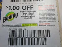 $1/1 Bounty Paper Towel 4ct 1/11/2020