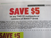 $5/2 Multipacks or Canisters Boost Drink 2/29/2020