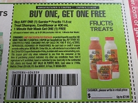 15 Coupons Buy 1 Get 1 FREE Garnier Fructis Treat Shampoo Condition or 1 Minute Hair Mask 3/28/2020