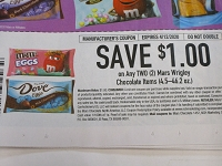 15 Coupons $1/2 Mars Wrigley Chocolate 4.5 - 46.2oz M&M's Dove DND 4/12/2020