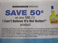 15 Coupons $.50/1 I Can't Believe Its Not Butter 4/12/2020