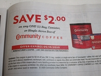15 Coupons $2/1 Community Coffee Bag Canister or Single Serve Box 5/10/2020