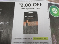 $2/1 Duracell Optimum pack 5/16/2020