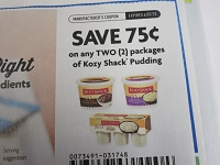 $.75/2 Kozy Shack Pudding 6/7/2020