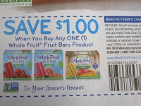 $1/1 Whole Fruit Fruit Bars 7/26/2020
