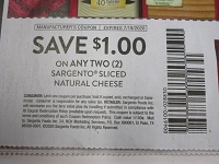 $1/2 Sargento Sliced Natural Cheese 7/19/2020