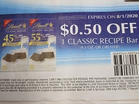 $.50/1 Lindt Classic Recipe Chocolate Bar 8/1/2020