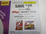 $1.50/2 Kellogg's Special K Cereal or Bars 9/13/2020