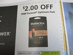 $2/1 Duracell Optimum Pack 8/29/2020