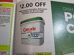 $2/1 Cascade ActioPacs Dishwasher Detergent Tub 30ct 10/10/2020