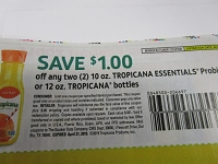 $1/2 10oz Tropicana Essentials Probiotics or 12oz Tropicana Bottles 4/21/2019