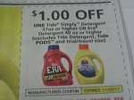 $1/1 Tide Simply Detergent 37oz or Era 40oz 11/25/2017