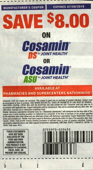 $8/1 Cosamin Ds or Asu Joint Health 7/9/2019