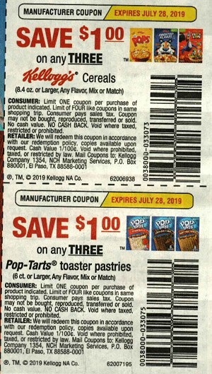 $1/3 Kellogg's Cereal + $1/3 Pop Tarts 6ct+ 7/28/2019