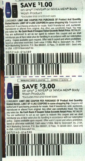 $1/1 Nivea or Nivea Men Body Wash + $3/2 Nivea or Nivea Men Body Wash 7/13/2019