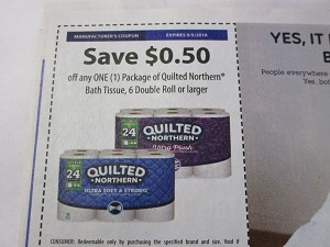 $.50/1 Quilted Northern Bath Tissue 6 Double Roll 9/5/2018