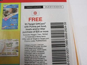 $5/1 Target Gift Card WYB $25 of Purina Pet Food Treats or Litter 8/31/2019