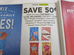 $.50/2 Chex Mix Bugles or Gardetto's Snack Mix 9/5/2020