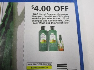 $4/2 Herbal Essences Bio:renew Shampoo Conditioner or Styling 8/8/2020