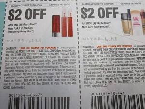$2/1 Maybelline New York Lip + $2/1 Maybelline NY Face 8/29/2020