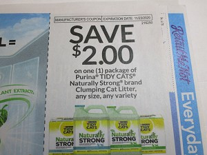 $2/1 Tidy Cat Naturally Strong Clumping Cat Litter 11/23/2020