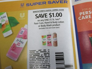 $1/1 St Ives Face Care Hand & Body Lotion or Body Wash 10/3/2020