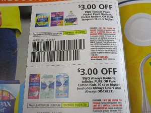 $3/2 Tampax Pearl Radiant or Pure Tampons 14ct + $3/2 Always Radiant Infinity Pure or Pure Cotton Pad 10ct 10/24/2020