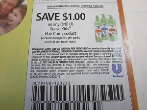 15 Coupons $1/1 Suave Kids Hair Care 10/31/2020