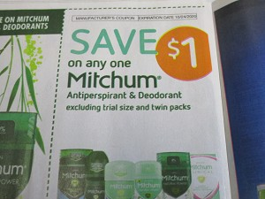 15 Coupons $1/1 Mitchum Antiperspirant Deodorant 10/24/2020