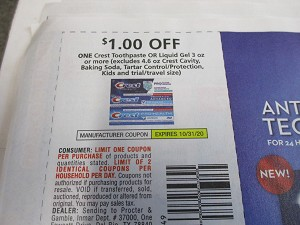 15 Coupons $1/1 Crest Toothpaste or Liquid Gel 3oz 10/31/2020