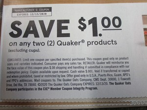 $1/2 Quaker Products 12/13/2020