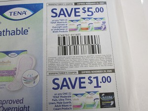 $5/2 Tena Maximum Ultimate or Overgight Pads + $1/1 Tena Moderate Pads Ultra Thins Liners  11/29/2020