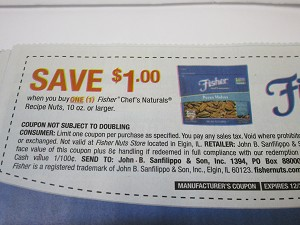 $1/1 Fisher Chef's Naturals Recipe Nut 10ox 12/31/2020